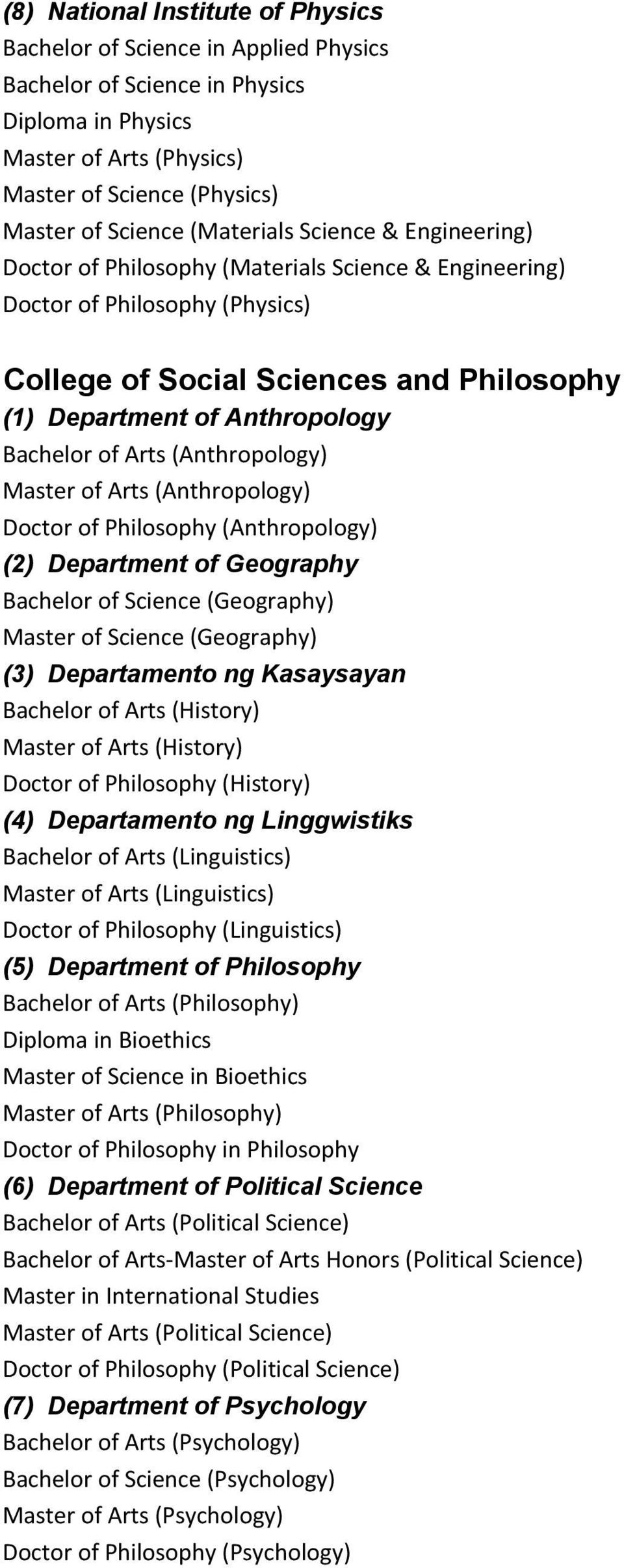 Bachelor of Arts (Anthropology) Master of Arts (Anthropology) Doctor of Philosophy (Anthropology) (2) Department of Geography Bachelor of Science (Geography) Master of Science (Geography) (3)