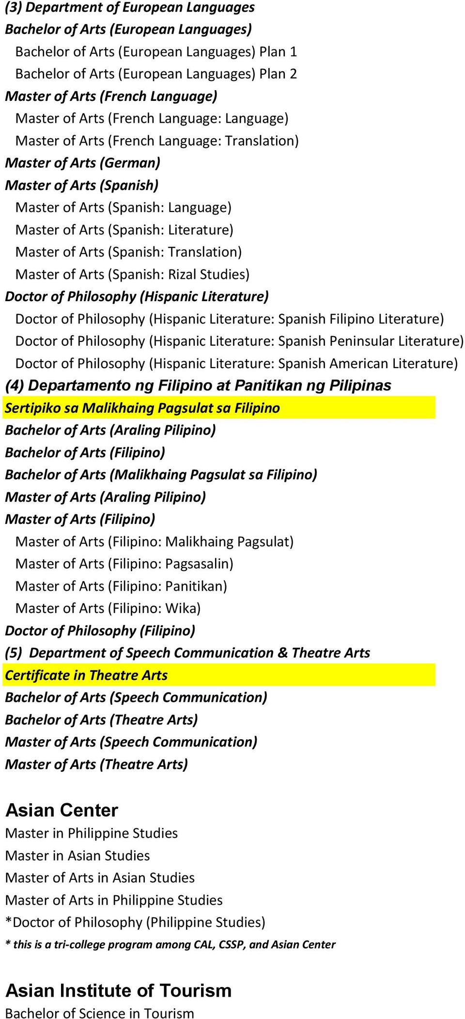 Literature) Master of Arts (Spanish: Translation) Master of Arts (Spanish: Rizal Studies) Doctor of Philosophy (Hispanic Literature) Doctor of Philosophy (Hispanic Literature: Spanish Filipino