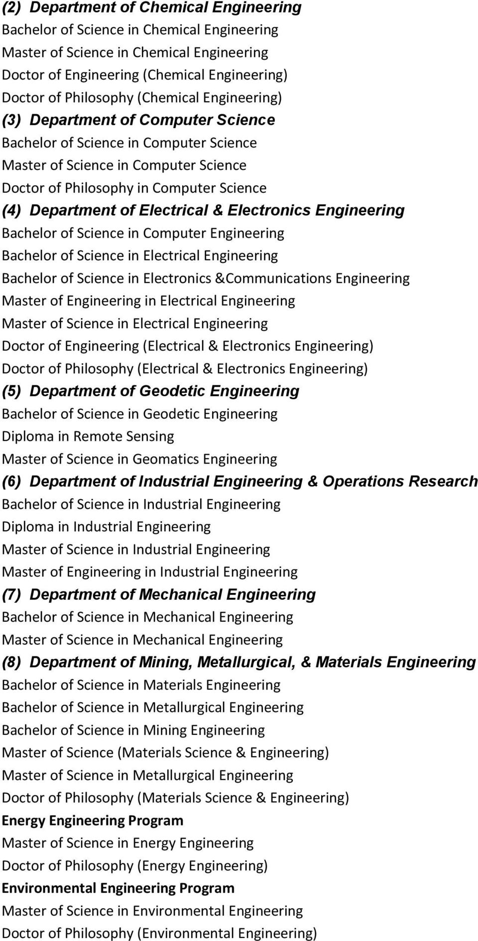 Electrical & Electronics Engineering Bachelor of Science in Computer Engineering Bachelor of Science in Electrical Engineering Bachelor of Science in Electronics &Communications Engineering Master of