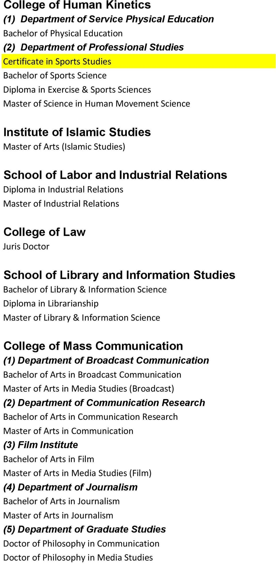 Industrial Relations Master of Industrial Relations College of Law Juris Doctor School of Library and Information Studies Bachelor of Library & Information Science Diploma in Librarianship Master of