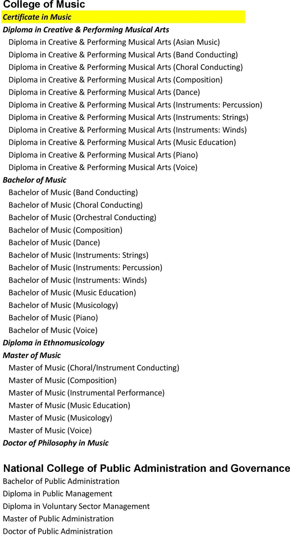 in Creative & Performing Musical Arts (Instruments: Percussion) Diploma in Creative & Performing Musical Arts (Instruments: Strings) Diploma in Creative & Performing Musical Arts (Instruments: Winds)