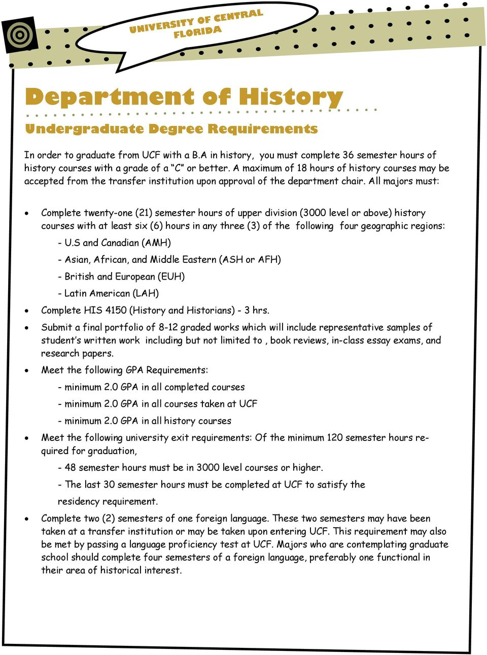 A maximum of 18 hours of history courses may be accepted from the transfer institution upon approval of the department chair.