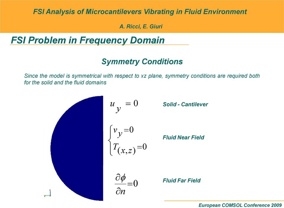 required both for the solid and the fluid domains u y = 0 Solid -
