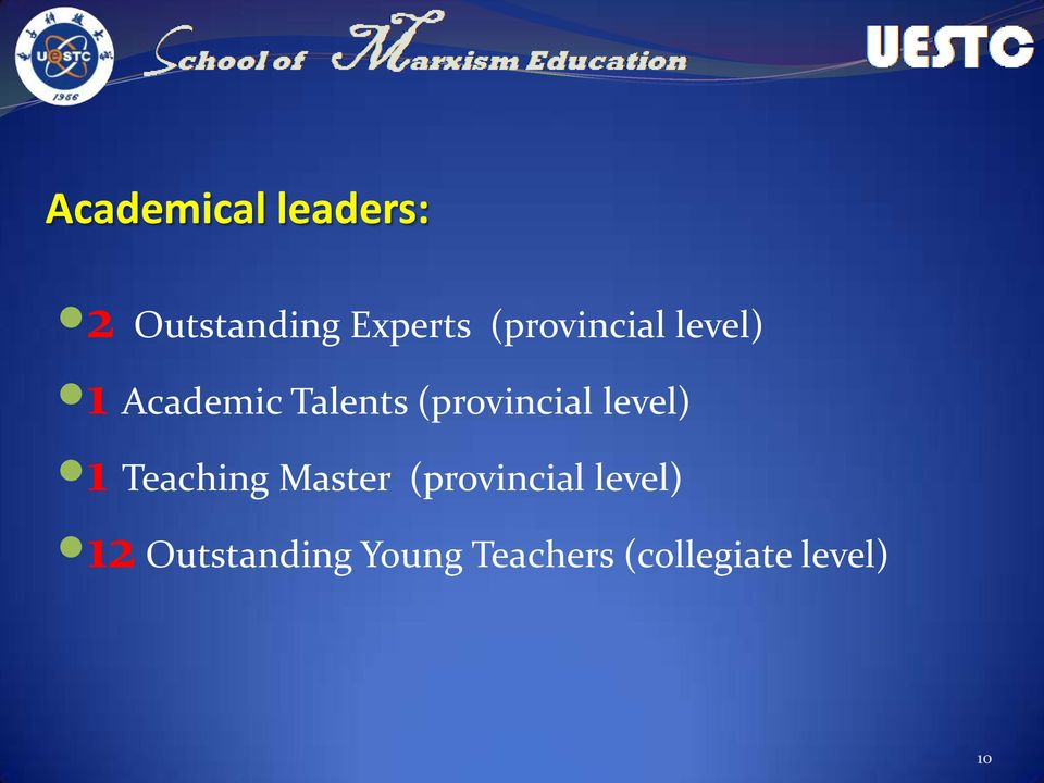 (provincial level) 1 Teaching Master