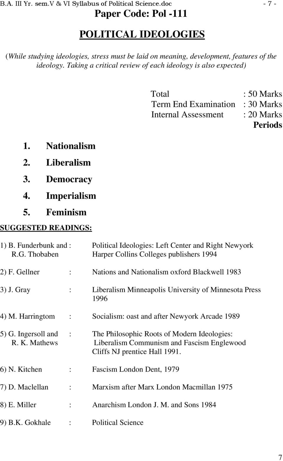Taking a critical review of each ideology is also expected) 1. Nationalism 2. Liberalism 3. Democracy 4. Imperialism 5. Feminism SUGGESTED READINGS: 1) B.