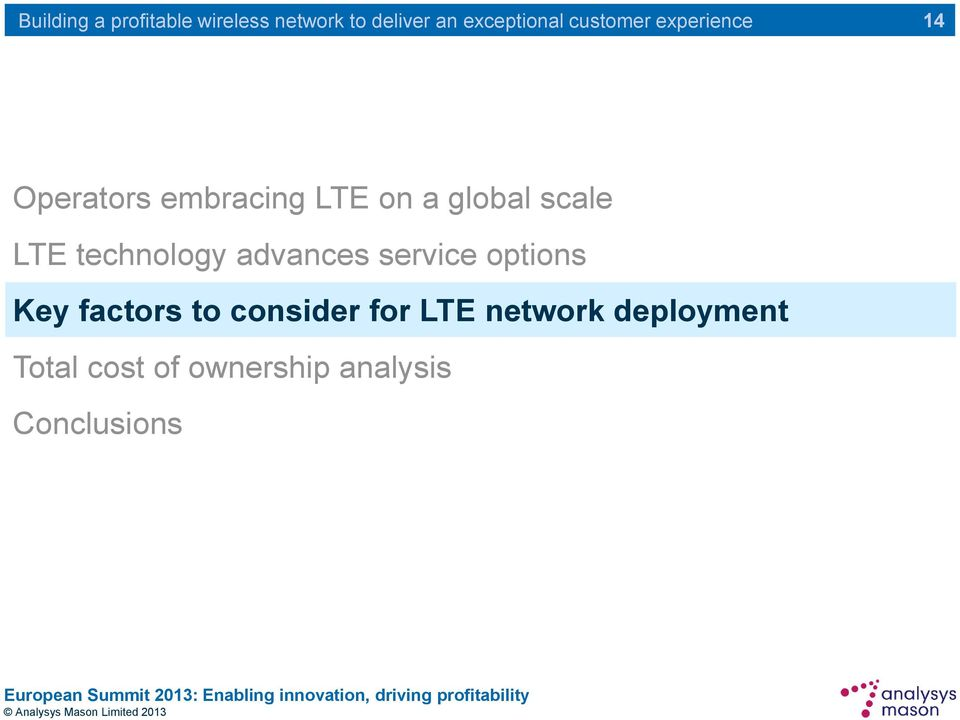 factors to consider for LTE network