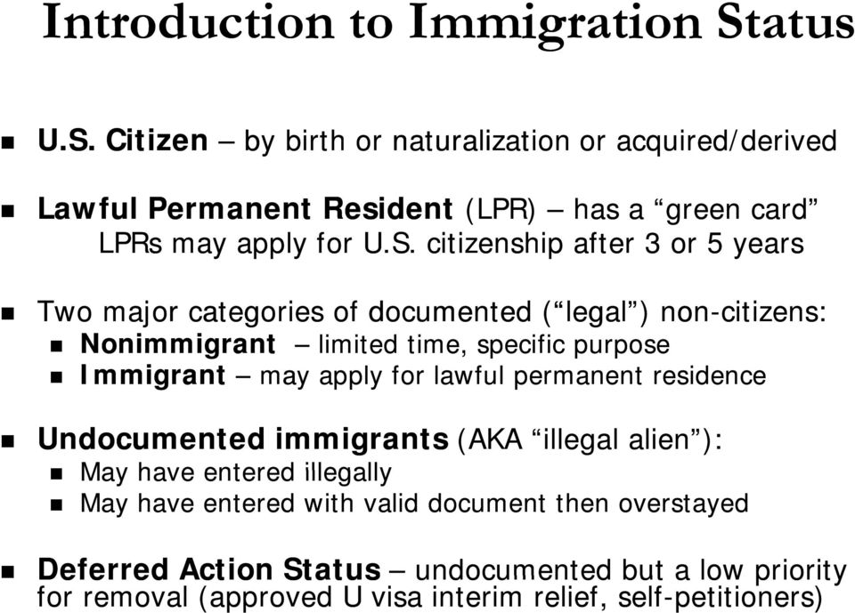 Citizen by birth or naturalization or acquired/derived Lawful Permanent Resident (LPR) has a green card LPRs may apply for U.S.