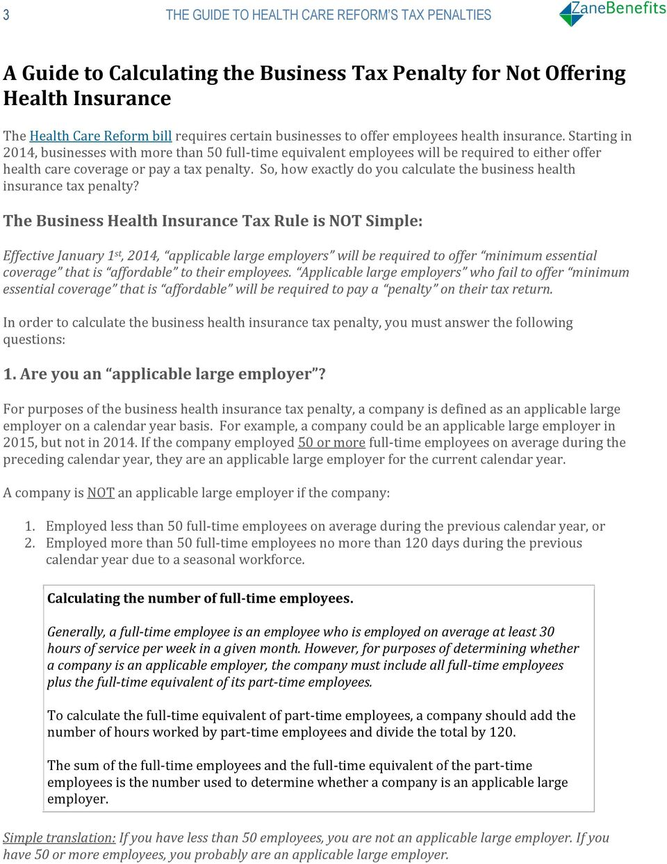 So, how exactly do you calculate the business health insurance tax penalty?