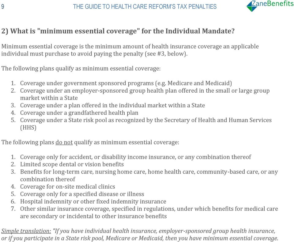 The following plans qualify as minimum essential coverage: 1. Coverage under government sponsored programs (e.g. Medicare and Medicaid) 2.