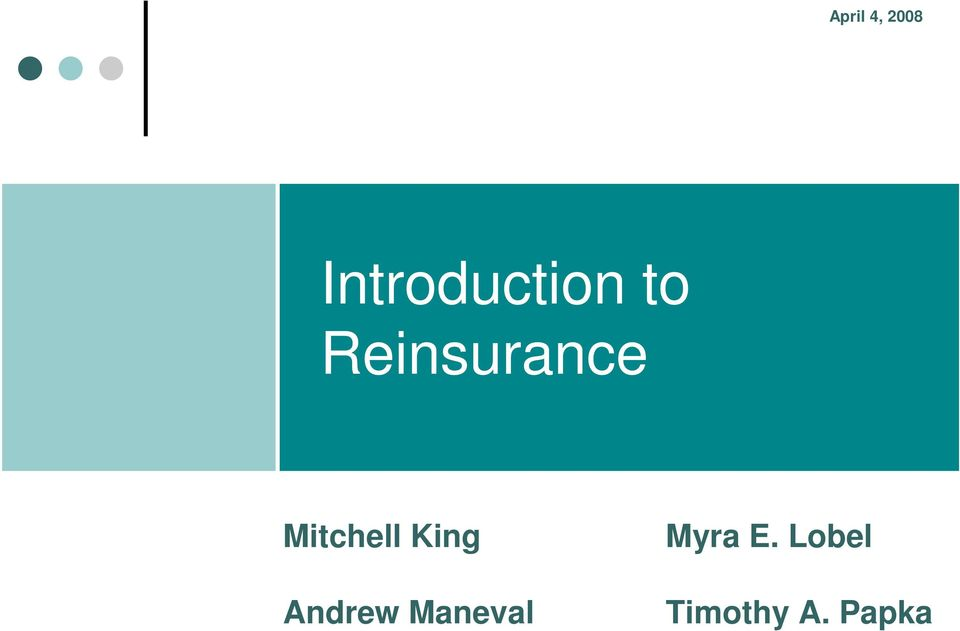 Reinsurance Mitchell King