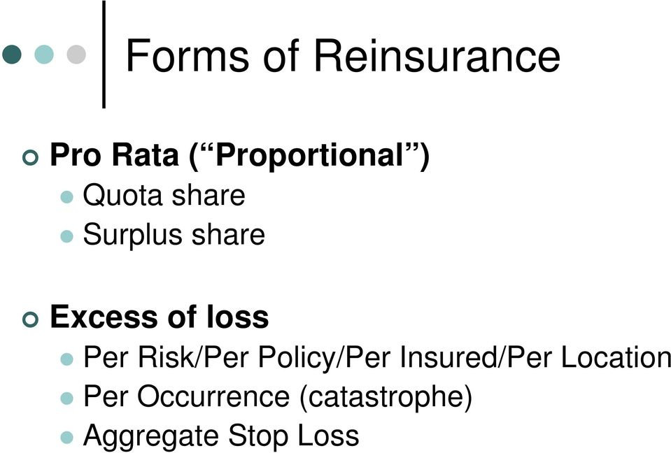 Per Risk/Per Policy/Per Insured/Per Location
