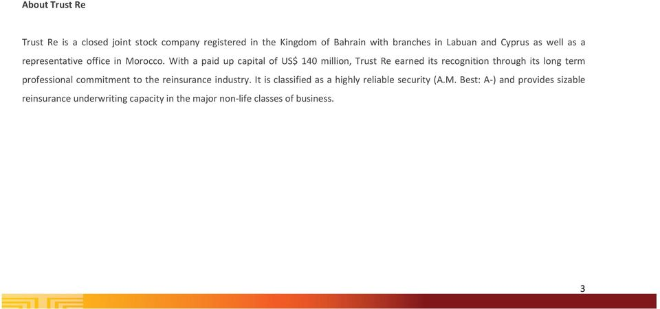 With a paid up capital of US$ 140 million, Trust Re earned its recognition through its long term professional commitment