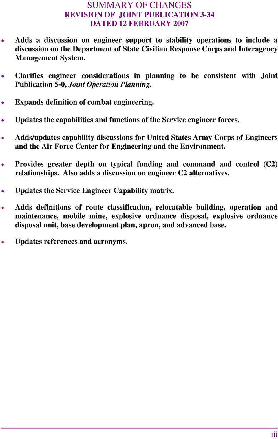 Expands definition of combat engineering. Updates the capabilities and functions of the Service engineer forces.