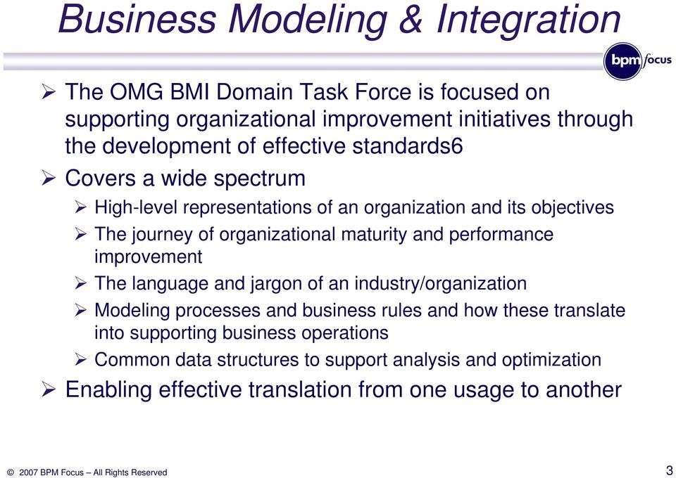 maturity and performance improvement The language and jargon of an industry/organization Modeling processes and business rules and how these