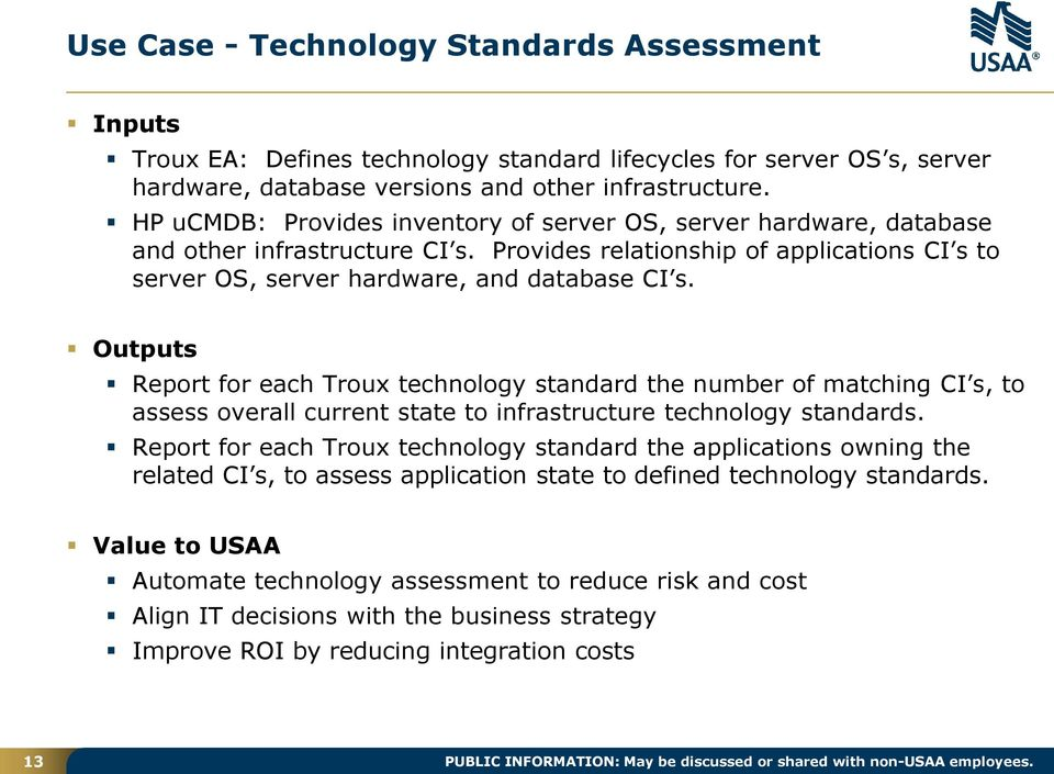 Outputs Report for each Troux technology standard the number of matching CI s, to assess overall current state to infrastructure technology standards.
