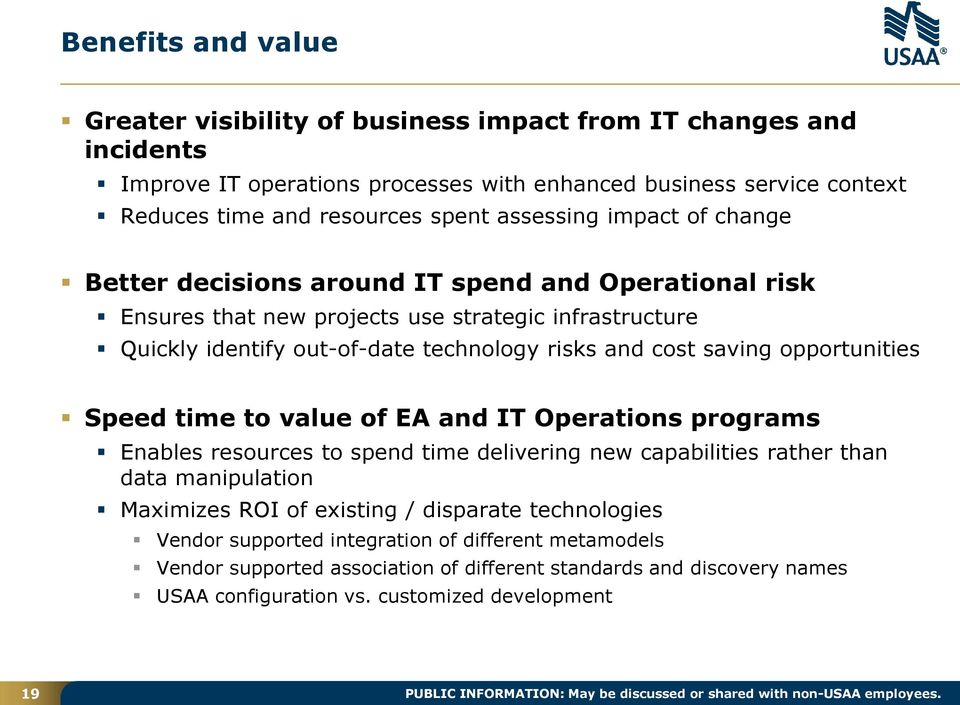 opportunities Speed time to value of EA and IT Operations programs Enables resources to spend time delivering new capabilities rather than data manipulation Maximizes ROI of existing / disparate