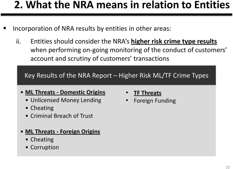 customers account and scrutiny of customers transactions Key Results of the NRA Report Higher Risk ML/TF Crime Types ML Threats