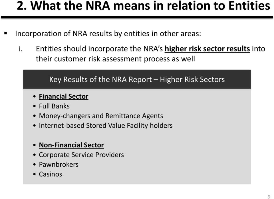 well Key Results of the NRA Report Higher Risk Sectors Financial Sector Full Banks Money-changers and Remittance