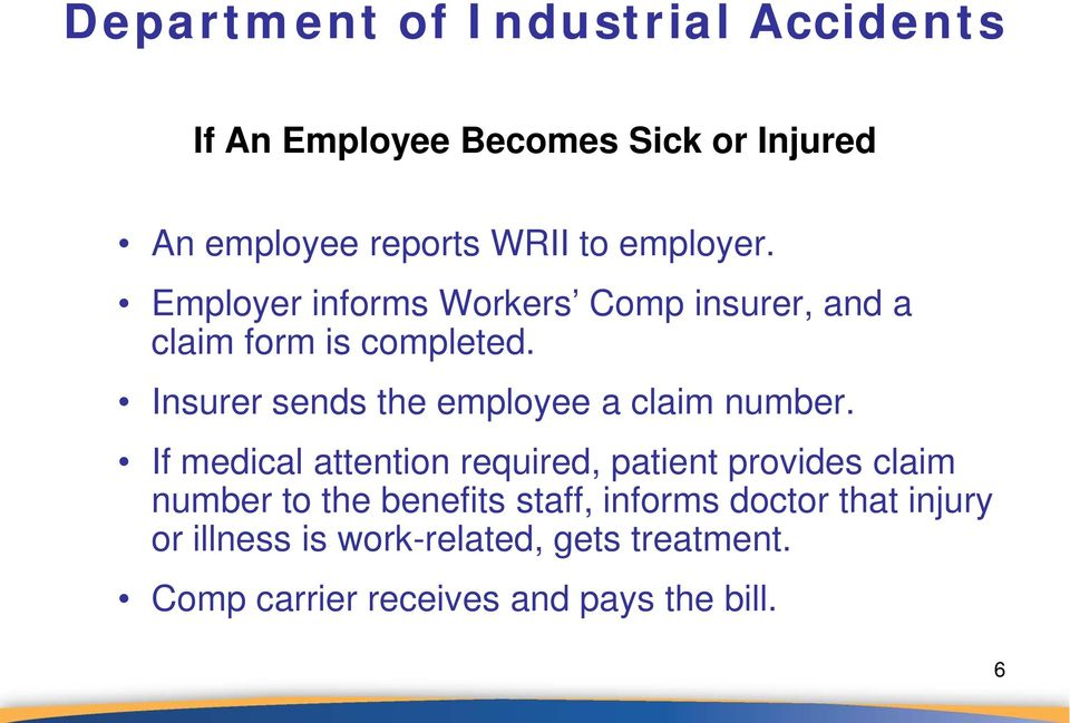 Insurer sends the employee a claim number.