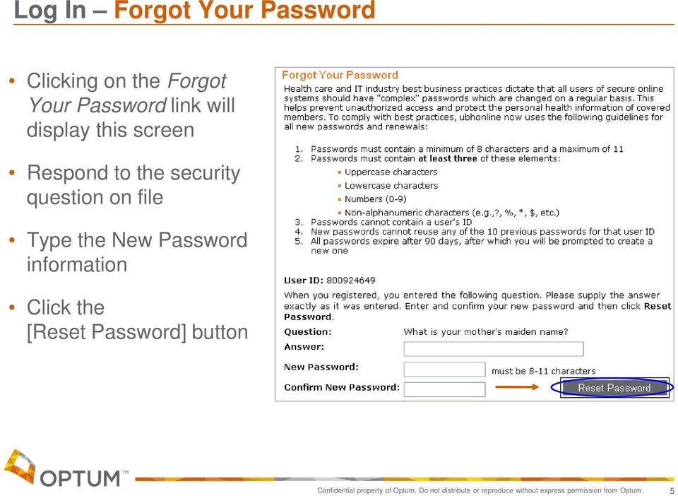 Password information Click the [Reset Password] button Confidential property