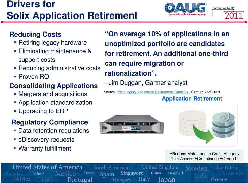 Warranty fulfillment On average 10% of applications in an unoptimized portfolio are candidates for retirement.