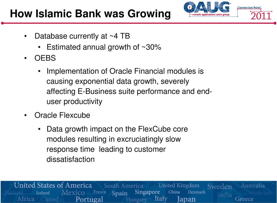 E-Business suite performance and enduser productivity Oracle Flexcube Data growth impact on the