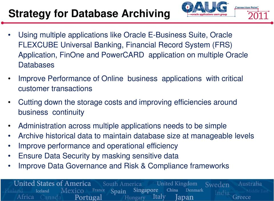 storage costs and improving efficiencies around business continuity Administration across multiple applications needs to be simple Archive historical data to maintain