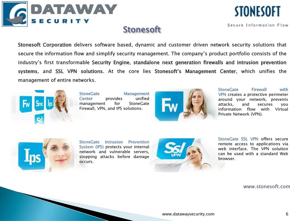 At the core lies Stonesoft s Management Center, which unifies the management of entire networks. StoneGate Management Center provides unified management for StoneGate Firewall, VPN, and IPS solutions.