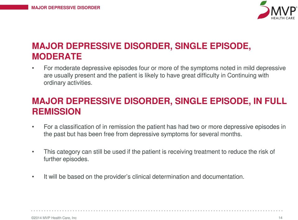 MAJOR DEPRESSIVE DISORDER, SINGLE EPISODE, IN FULL REMISSION For a classification of in remission the patient has had two or more depressive episodes in the past but has been