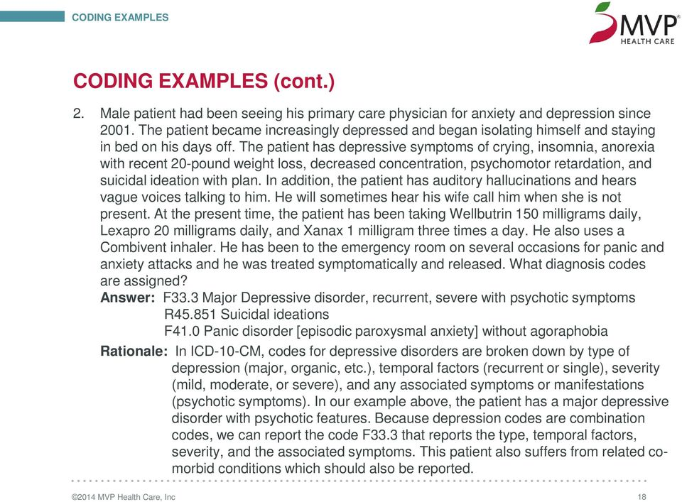 The patient has depressive symptoms of crying, insomnia, anorexia with recent 20-pound weight loss, decreased concentration, psychomotor retardation, and suicidal ideation with plan.