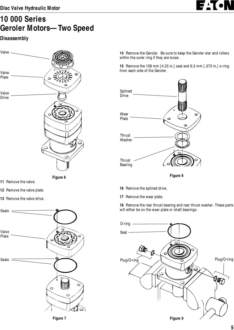Drive Splined Drive Wear Plate Thrust Washer 11 Remove the valve. 12 Remove the valve plate. 13 Remove the valve drive.