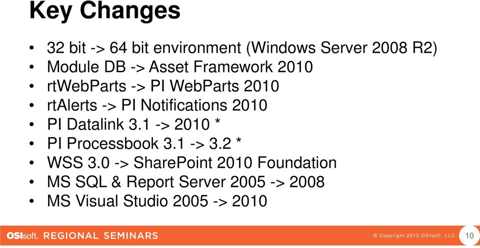 Notifications 2010 PI Datalink 3.1 -> 2010 * PI Processbook 3.1 -> 3.2 * WSS 3.
