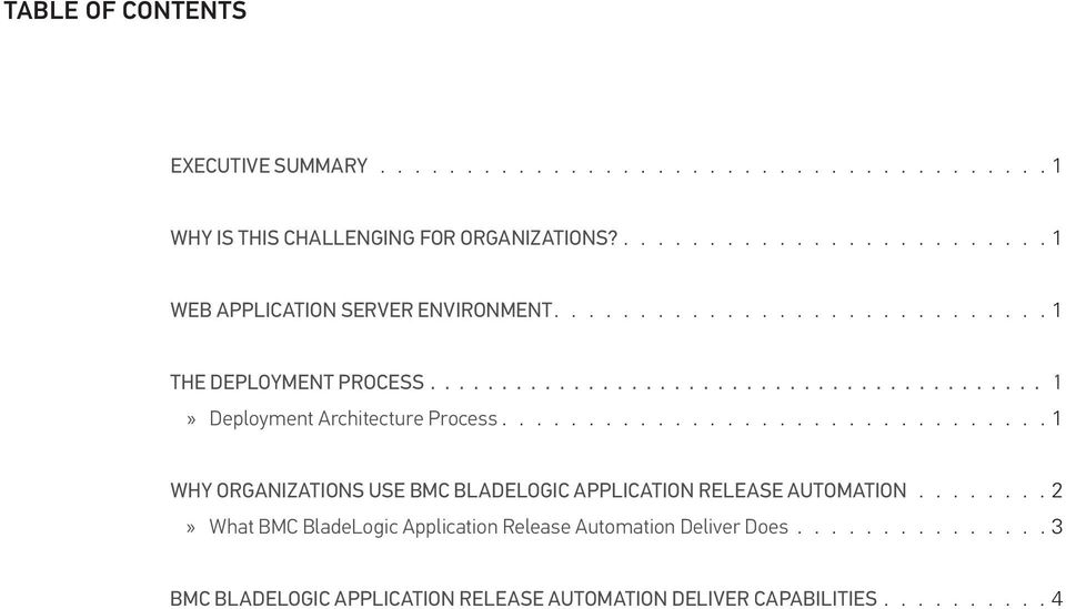 .......................................... 1»» Deployment Architecture Process 1 Why Organizations Use BMC BladeLogic Application Release Automation.