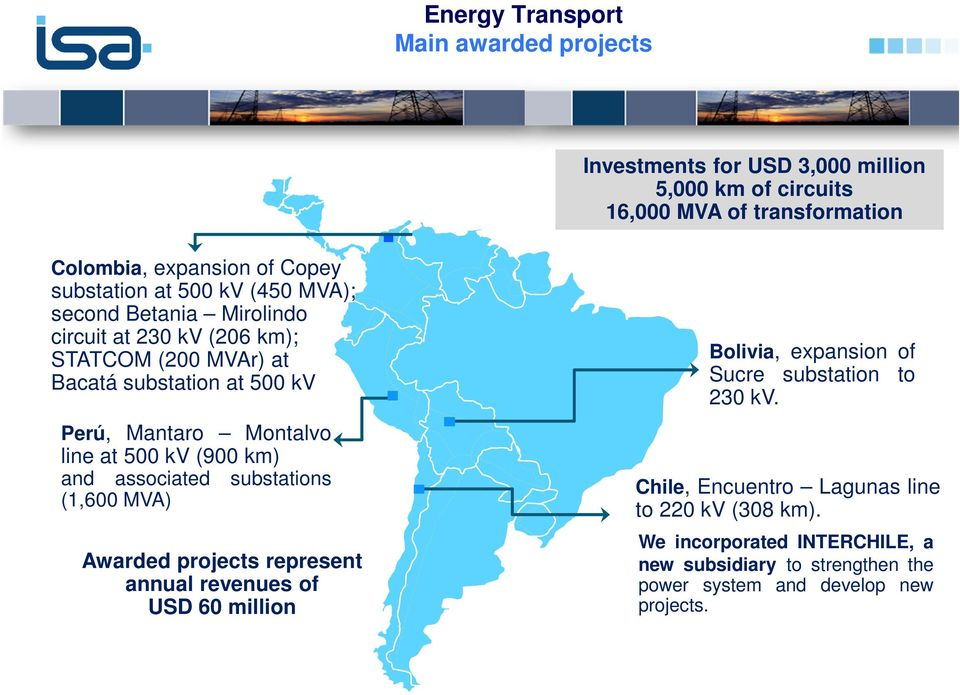 line at 500 kv (900 km) and associated substations (1,600 MVA) Awarded projects represent annual revenues of USD 60 million Bolivia, expansion of Sucre