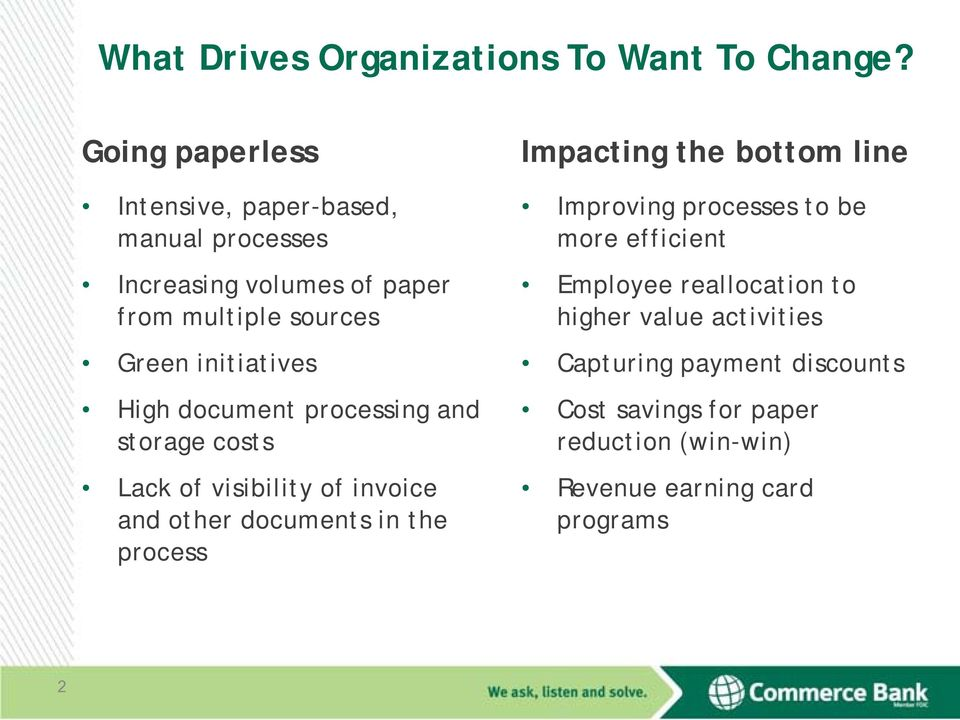 initiatives High document processing and storage costs Lack of visibility of invoice and other documents in the process