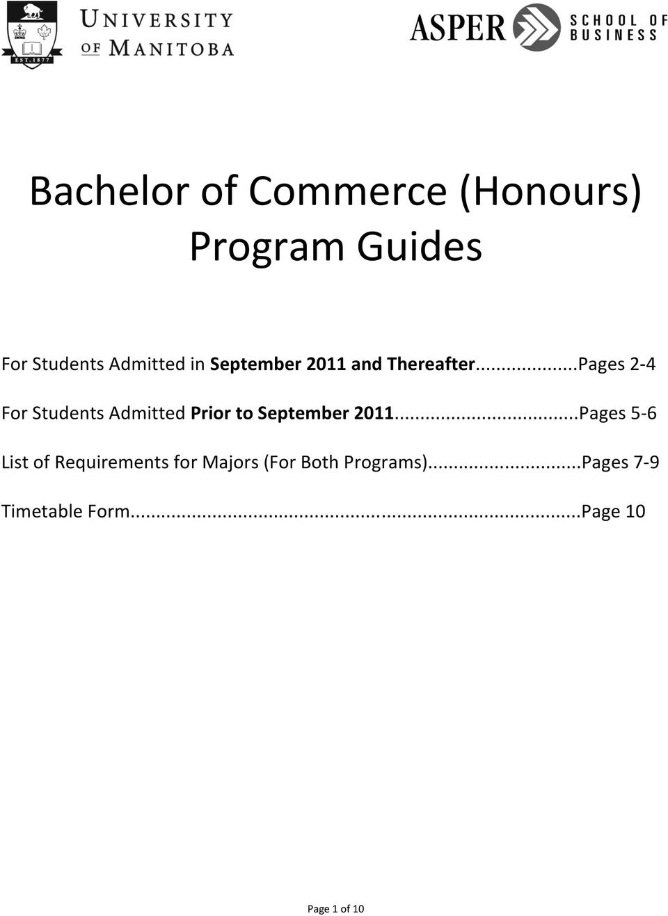 ..Pages 2-4 For Students Admitted Prior to September 2011.