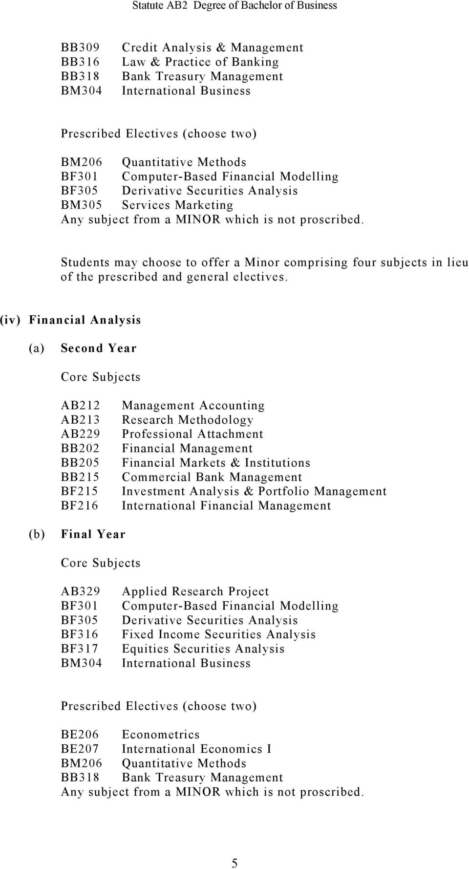 Bank Management Investment Analysis & Portfolio Management International Financial Management BF301 BF305 BF316 BF317 Computer-Based Financial Modelling Derivative Securities