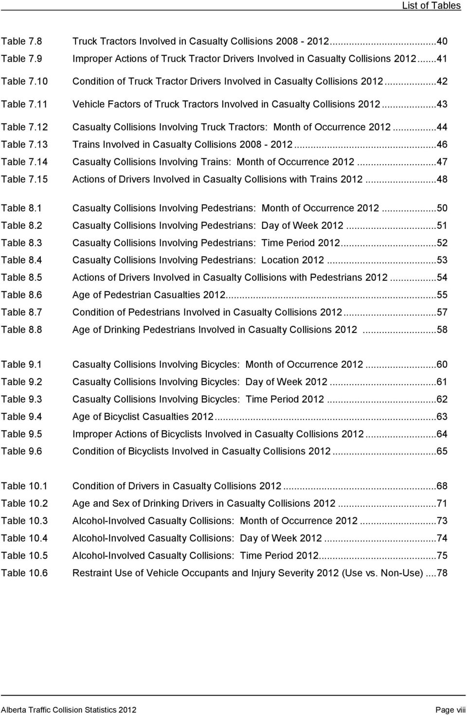 12 Casualty Collisions Involving Truck Tractors: Month of Occurrence 2012... 44 Table 7.13 Trains Involved in Casualty Collisions 2008-2012... 46 Table 7.