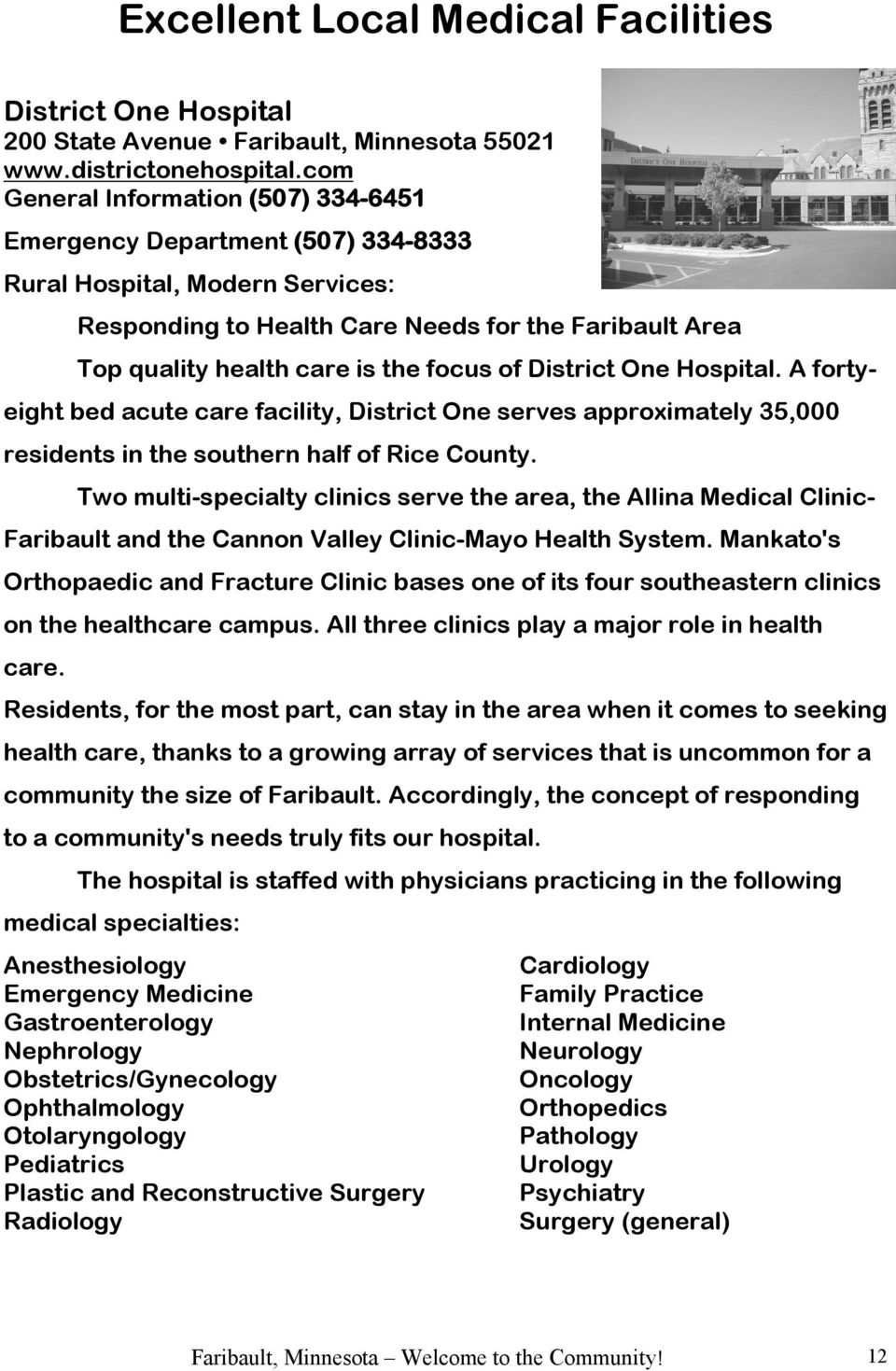 Faribault, Minnesota Information Booklet Welcome to the