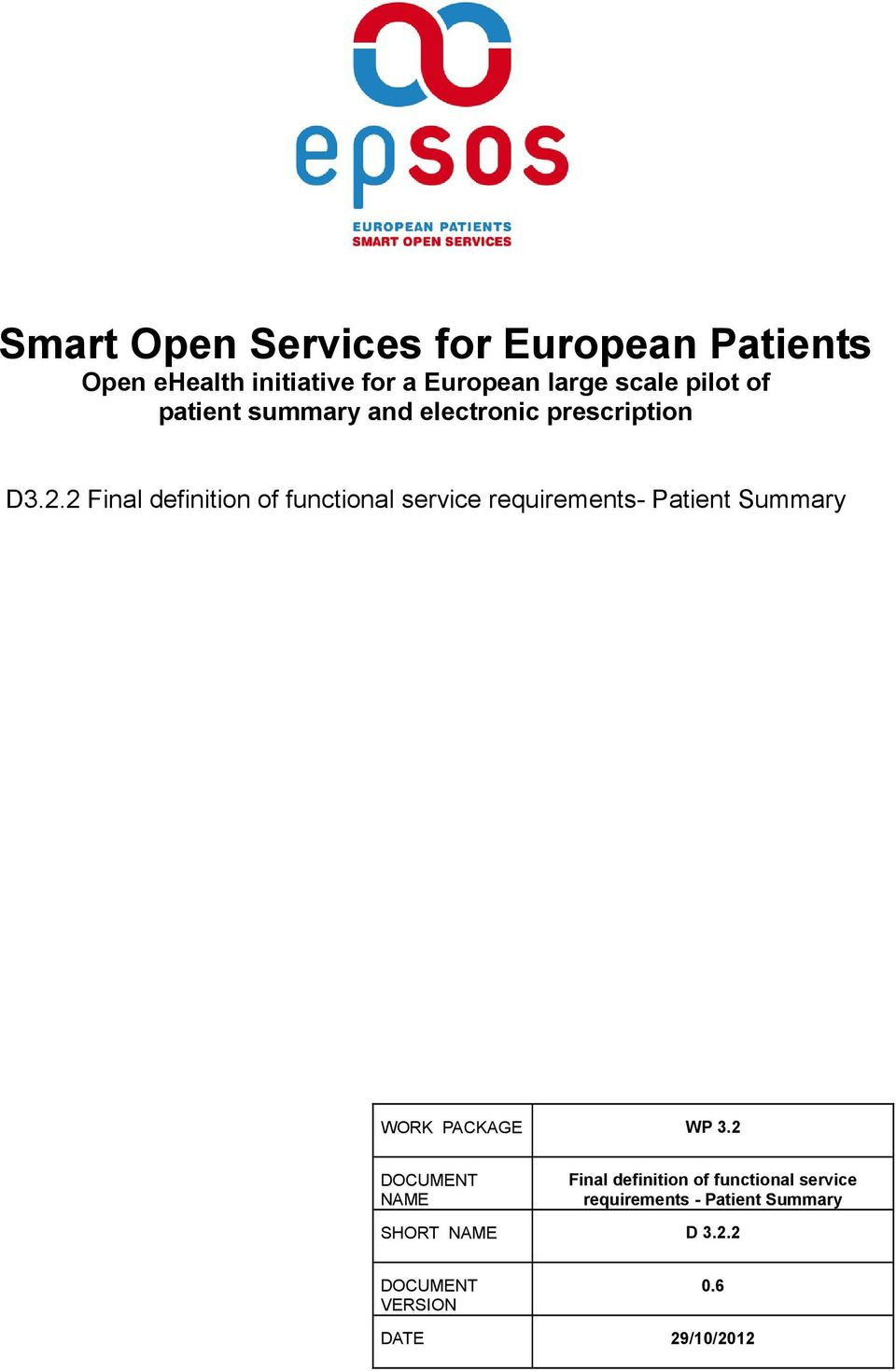 2 Final definition of functional service requirements- Patient Summary WORK PACKAGE WP 3.