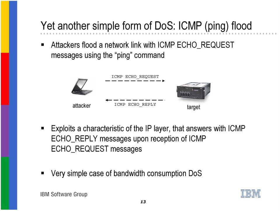 target Exploits a characteristic of the IP layer, that answers with ICMP ECHO_REPLY