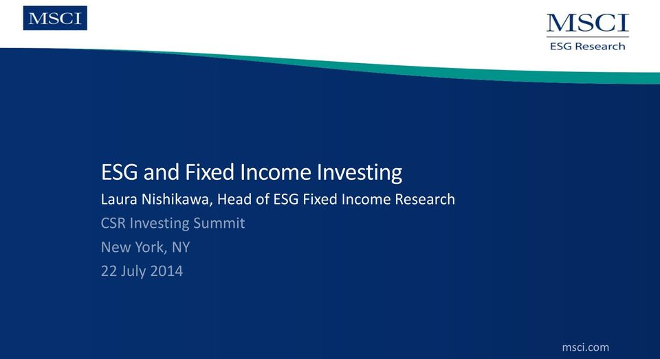 Fixed Income Research CSR