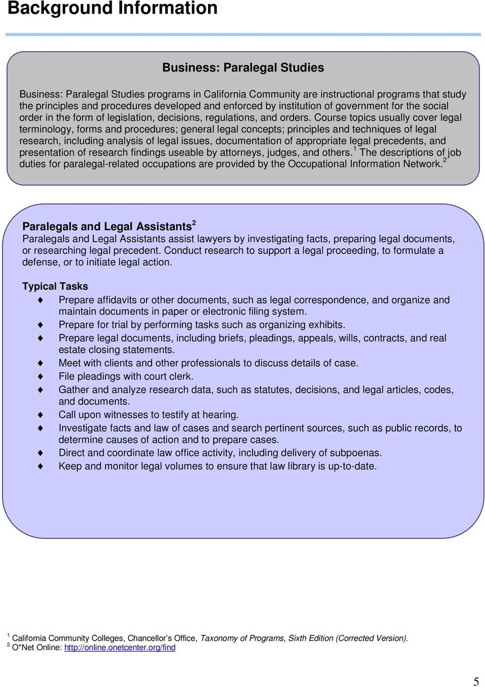 Course topics usually cover legal terminology, forms and procedures; general legal concepts; principles and techniques of legal research, including analysis of legal issues, documentation of