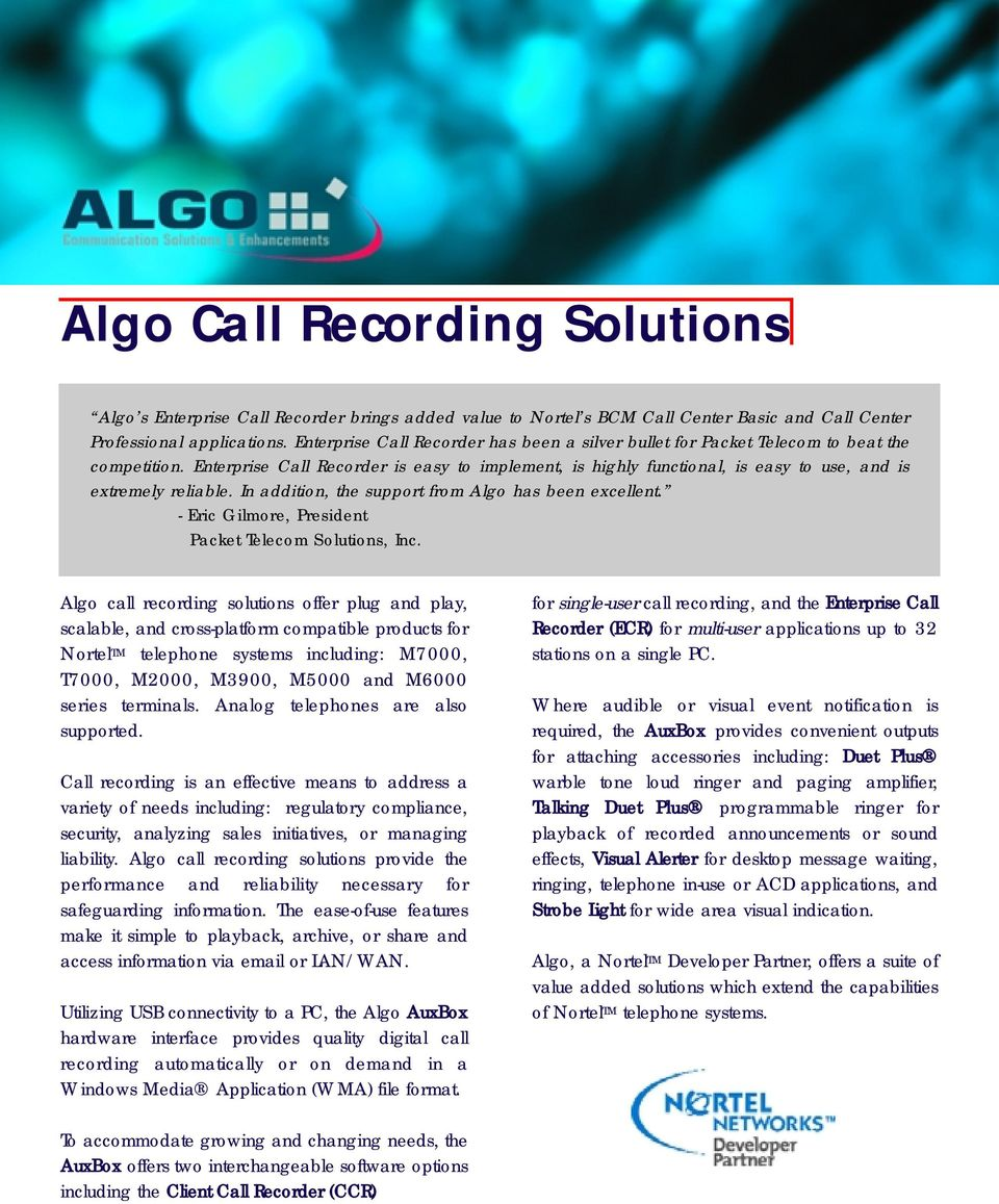 Algo Call Recording Solutions Pdf Simple Telephone Recorder Enterprise Is Easy To Implement Highly Functional Use