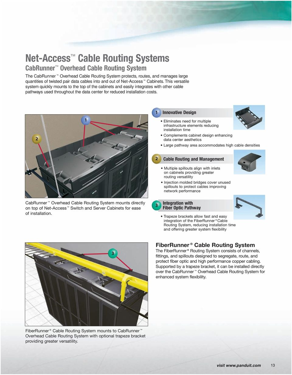 This versatile system quickly mounts to the top of the cabinets and easily integrates with other cable pathways used throughout the data center for reduced installation costs.