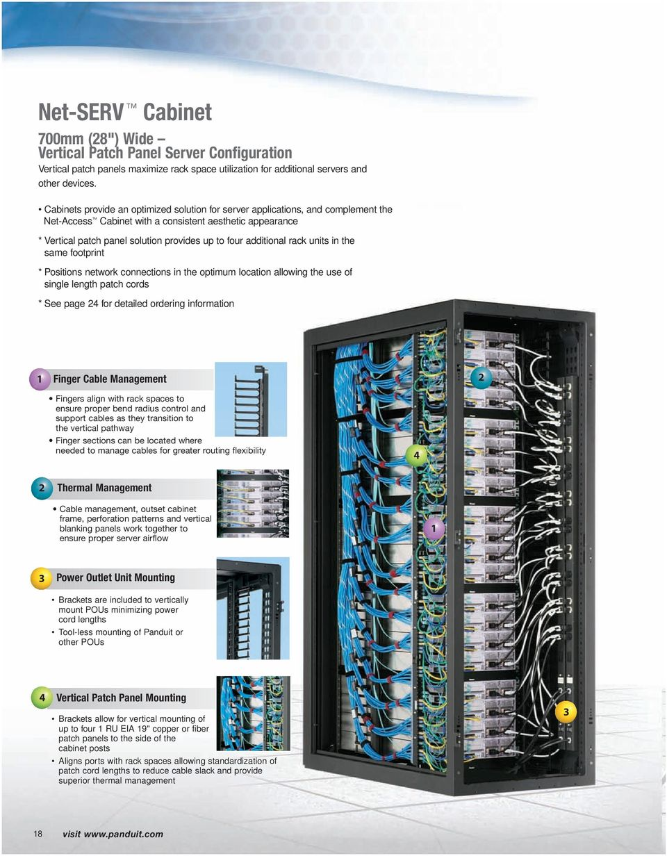 additional rack units in the same footprint * Positions network connections in the optimum location allowing the use of single length patch cords * See page 4 for detailed ordering information Finger
