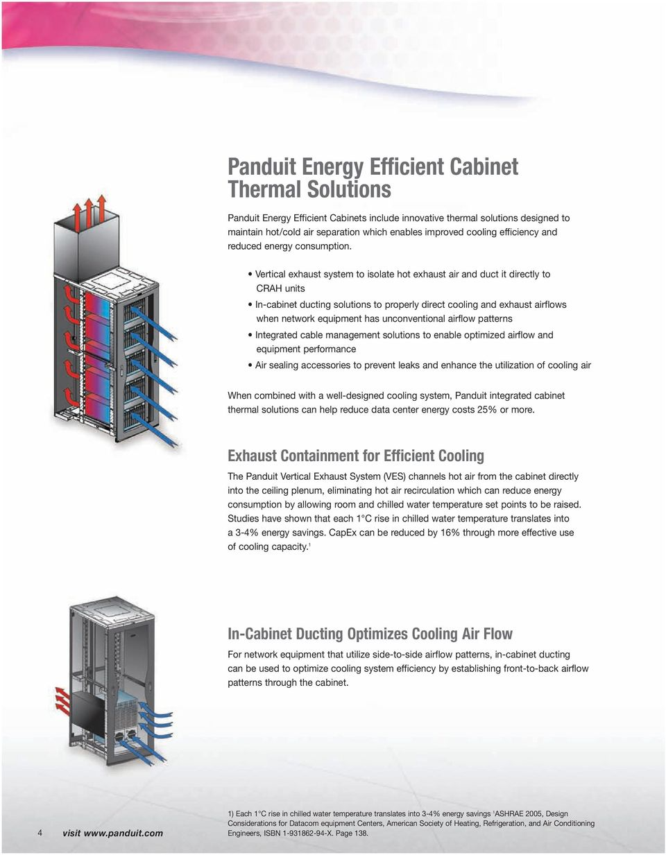 Vertical exhaust system to isolate hot exhaust air and duct it directly to CRAH units In-cabinet ducting solutions to properly direct cooling and exhaust airflows when network equipment has