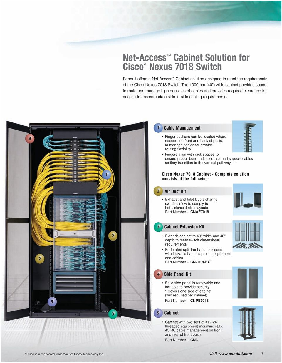 Cable Management 4 Finger sections can be located where needed, on front and back of posts, to manage cables for greater routing flexibility Fingers align with rack spaces to ensure proper bend