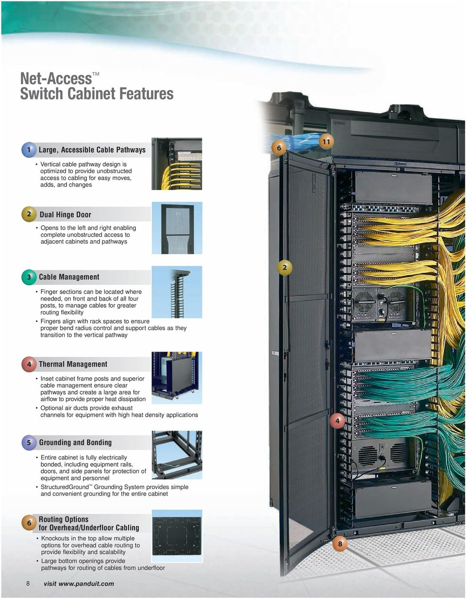posts, to manage cables for greater routing flexibility Fingers align with rack spaces to ensure proper bend radius control and support cables as they transition to the vertical pathway 4 Thermal