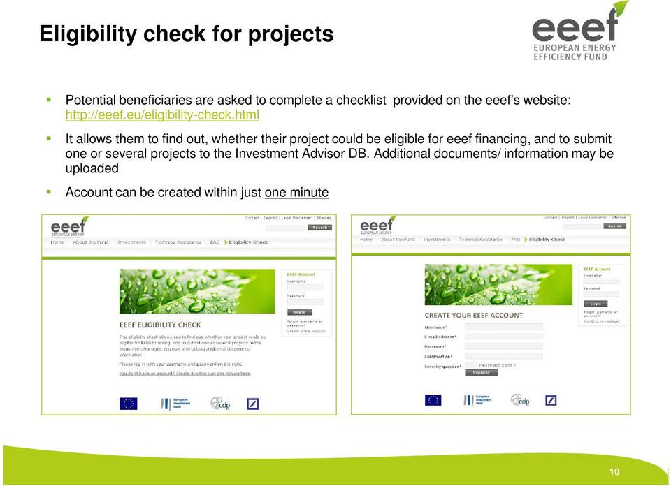 html It allows them to find out, whether their project could be eligible for eeef financing, and to